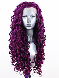 cheap -Synthetic Lace Front Wig Curly Free Part Lace Front Wig Blonde Long fluorescent green Black#1B Light Blonde Purple Red Synthetic Hair 20-26 inch Women's Adjustable Heat Resistant Party Blonde Purple