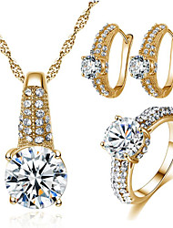 cheap -Women's Cubic Zirconia Bridal Jewelry Sets Geometrical Joy Stylish Gold Plated Earrings Jewelry Gold / Silver For Party Daily 1 set