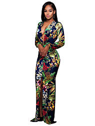 cheap -Sheath / Column Plunging Neck Sweep / Brush Train Polyester Floral Formal Evening Dress 2020 with Pattern / Print / Split Front