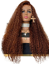 cheap -Synthetic Lace Front Wig Curly European Side Part Lace Front Wig Long Medium Auburn Synthetic Hair 22-26 inch Women's Adjustable Heat Resistant Party Brown