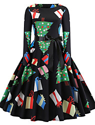 cheap -Women's Daily Wear Basic Sheath Dress - Geometric Patchwork Black S M L XL