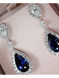 cheap -Women's AAA Cubic Zirconia Earrings Vintage Style Drop Luxury Dangling Imitation Diamond Earrings Jewelry Dark Blue For Wedding Party Engagement 1 Pair