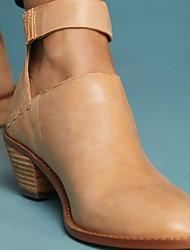 Недорогие -Жен. Ботинки На низком каблуке Круглый носок Полиуретан Ботинки Лето Черный / Темно-серый / Верблюжий
