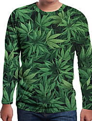 cheap -Men's 3D Graphic Print T-shirt Holiday Daily Wear Round Neck Green / Long Sleeve