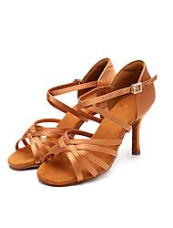 cheap -Women's Dance Shoes Silk Latin Shoes Heel Slim High Heel Customizable Black / Brown / Performance / Leather