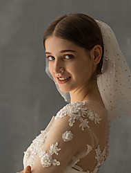 cheap -Two-tier Stylish Wedding Veil Shoulder Veils with Sequin Tulle / Angel cut / Waterfall