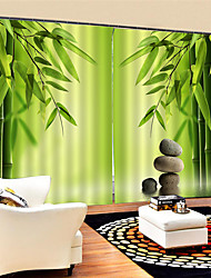 cheap -3D Chinese Bamboo Printed Custom Privacy Two Panels Polyester Curtain For Outdoor   Living Room Decorative Waterproof Dust-proof High-quality Curtains