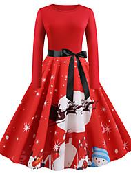 cheap -Women's Vintage Elegant A Line Dress - Color Block Abstract Deer Santa Claus, Patchwork Print Red S M L XL