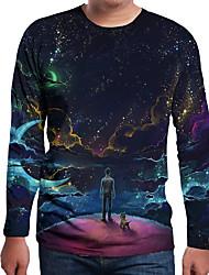 cheap -Men's Galaxy 3D Print T-shirt Holiday Daily Wear Round Neck Navy Blue / Long Sleeve