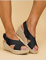 cheap -Women's Sandals Wedge Heel Peep Toe Ribbon Tie Microfiber Spring &  Fall Black / White / Khaki