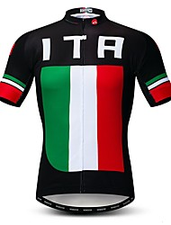 cheap -21Grams Men's Short Sleeve Cycling Jersey Rough Black Italy National Flag Bike Jersey Top Mountain Bike MTB Road Bike Cycling Breathable Moisture Wicking Quick Dry Sports Polyester Elastane Terylene