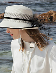 cheap -Polyester Straw Hats with Powder Skirt / Trim 1pc Casual / Daily Wear Headpiece