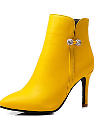cheap -Women's Boots Stiletto Heel Pointed Toe Rhinestone PU(Polyurethane) Booties / Ankle Boots Business / British Fall & Winter Black / White / Yellow / Party & Evening