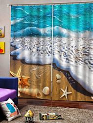 Недорогие -красивый пляж с печатью плотные окна шторы ушко простота установки теплоизоляция звукоизоляция офис гостиная шторы