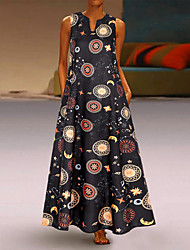 Недорогие -Жен. Винтаж Шинуазери (китайский стиль) С летящей юбкой Платье - Контрастных цветов, Пэчворк Макси