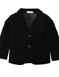 cheap -Kids Boys' Basic Solid Colored Patchwork Long Sleeve Long Regular Cotton Suit & Blazer Black