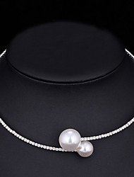 cheap -Women's Choker Necklace Torque Simple Elegant Korean Sweet Imitation Pearl Chrome Imitation Diamond Gold Silver 44 cm Necklace Jewelry 1pc For Wedding Gift Daily Engagement Work