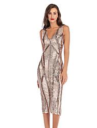 cheap -Diva Disco 1980s Dress Women's Sequins Costume Black / Golden Vintage Cosplay Prom Sleeveless Knee Length Sheath / Column