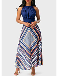 cheap -A-Line Jewel Neck Ankle Length Stretch Satin Sexy / Elegant Cocktail Party / Holiday Dress 2020 with Pattern / Print