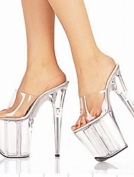cheap -Women's Heels Cone Heel Peep Toe Crystal PVC(Polyvinyl chloride) Classic Summer Black / Clear / White / Party & Evening / Color Block