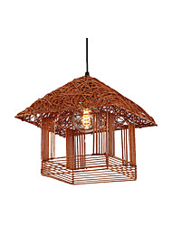 cheap -1-Light Natural Rattan Knitted Pendant Light Fixtures Coastal Beach Hand Woven Rattan Chandelier Suspension Lamps For Bedroom Hallway Balcony