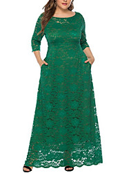 cheap -Women's Plus Size A-Line Dress Lace Maxi long Dress - 3/4 Length Sleeve Solid Colored Lace Lace Purple Green XL XXL XXXL XXXXL XXXXXL XXXXXXL