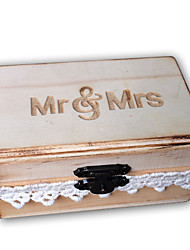 cheap -Mr & Mrs Rustic Wooden Wedding Ring Bearer Vintage Lace Decorated Lockable Ring Holder Box