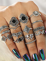 cheap -Women's Ring Set Multi Finger Ring 15pcs Silver Resin Rhinestone Alloy Round Vintage Bohemian Daily Street Jewelry Cut Out Sunflower Cool Lovely