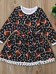 cheap -Baby Girls' Active / Basic Geometric / Print Tassel / Print Long Sleeve Knee-length Dress Light Brown