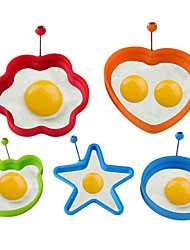cheap -Silicone Fried Egg Pancake Ring Omelette Fried Eggs Round Heart Flower Shaped Eggs Mold for Cooking Breakfast Tools