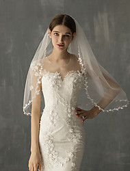 cheap -Two-tier Stylish Wedding Veil Elbow Veils with Fringe Tulle / Angel cut / Waterfall