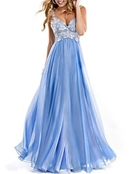cheap -A-Line Spaghetti Strap Floor Length Chiffon / Lace Open Back Formal Evening Dress 2020 with Lace Insert