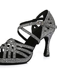 cheap -Women's Dance Shoes Synthetics Latin Shoes Heel Flared Heel Black / Silver / Performance