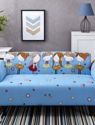 cheap -Cartoon Girls Print Dustproof Stretch Slipcovers Stretch Sofa Cover Super Soft Fabric Couch Cover (You will Get 1 Throw Pillow Case as free Gift)