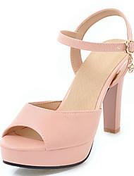 cheap -Women's Heels Chunky Heel PU(Polyurethane) Fall / Spring & Summer White / Black / Pink