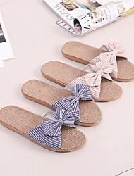 abordables -pantoufles femme style nœud papillon / pantoufles de lin / pantoufles domestiques / pantoufles passager / à rayures / pantoufles respirantes en fibre de polyester