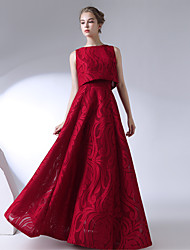 cheap -A-Line / Two Piece Jewel Neck / Strapless Floor Length Lace Two Piece / Elegant Prom Dress with 2020