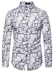 cheap -Men's Party Daily Punk & Gothic Shirt - Geometric Print Black