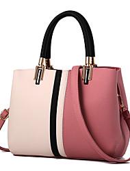 cheap -Women's Zipper PU(Polyurethane) / PU Top Handle Bag Color Block Black / Blushing Pink / Orange / Fall & Winter