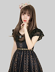 cheap -Patterned Vintage Elegant Dress Party Costume Costume Party Dress Female Japanese Cosplay Costumes Black / Ivory / Dark Green Stitching Lace Floral Print Lace Flare Sleeve Short Sleeve Long Length