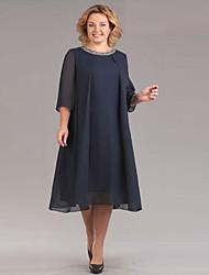 cheap -Women's Sophisticated Elegant Chiffon Dress - Solid Colored Sequins Black Red Navy Blue XXXL XXXXL XXXXXL