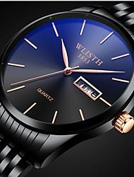 cheap -Men's Steel Band Watches Quartz Stylish Stainless Steel Black / Gold Water Resistant / Waterproof Calendar / date / day New Design Analog Fashion - Black Black / White Black / Blue