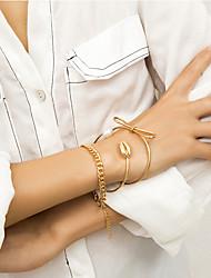 abordables -3pcs Chaînes Bracelets Manchettes Bracelets Bracelet Femme Classique Précieux simple Elégant Bracelet Bijoux Dorée Argent pour Cadeau Quotidien Ecole Vacances Travail