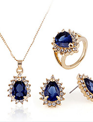cheap -Women's Synthetic Aquamarine Bridal Jewelry Sets Geometrical Heart Classic Gold Plated Earrings Jewelry Dark Blue For Party Daily 1 set
