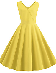 cheap -Women's Chiffon Dress - Sleeveless Solid Colored Pleated V Neck Vintage Street chic Belt Not Included Slim Wine Black Blue Purple Red Yellow Blushing Pink Green Light Blue S M L XL XXL