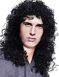 cheap -Synthetic Wig Toupees Curly Afro Curly Free Part Wig Medium Length Natural Black Synthetic Hair 14 inch Women's Heat Resistant Classic Synthetic Black