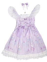 cheap -Sweet Lolita Princess Lolita Country Lolita Dress Masquerade JSK / Jumper Skirt Girls' Female Chiffon Japanese Cosplay Costumes Purple Lace Flower Rabbit / Bunny Sleeveless Sleeveless Medium Length