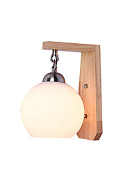 cheap -Nordic Wall Lamp Creative Wooden Sconce Fixture Globe Glass Wall Lamp Fixtures for Corridor Aisle Hallway
