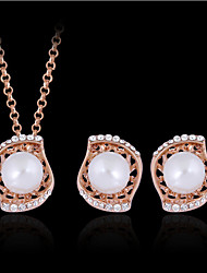 cheap -Women's Stud Earrings Pendant Necklace Cut Out Shell Stylish Classic Imitation Pearl Gold Plated Earrings Jewelry Gold For Daily Work 1 set
