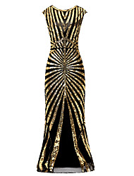 cheap -Mermaid / Trumpet Jewel Neck Floor Length Polyester Elegant / Vintage Inspired Formal Evening Dress with Beading / Sequin 2020